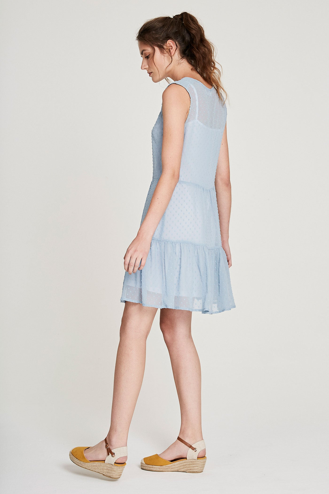 Summer Peasant Dress - Pale Blue