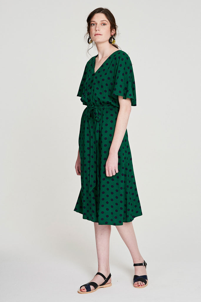 Wren Dress - Green Polka