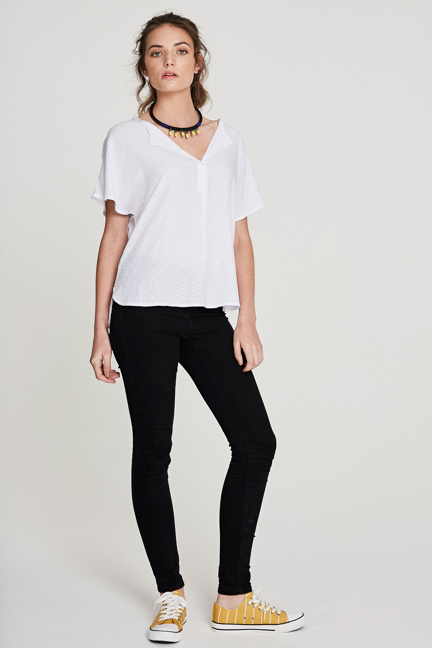Wren Top - White Embroidered