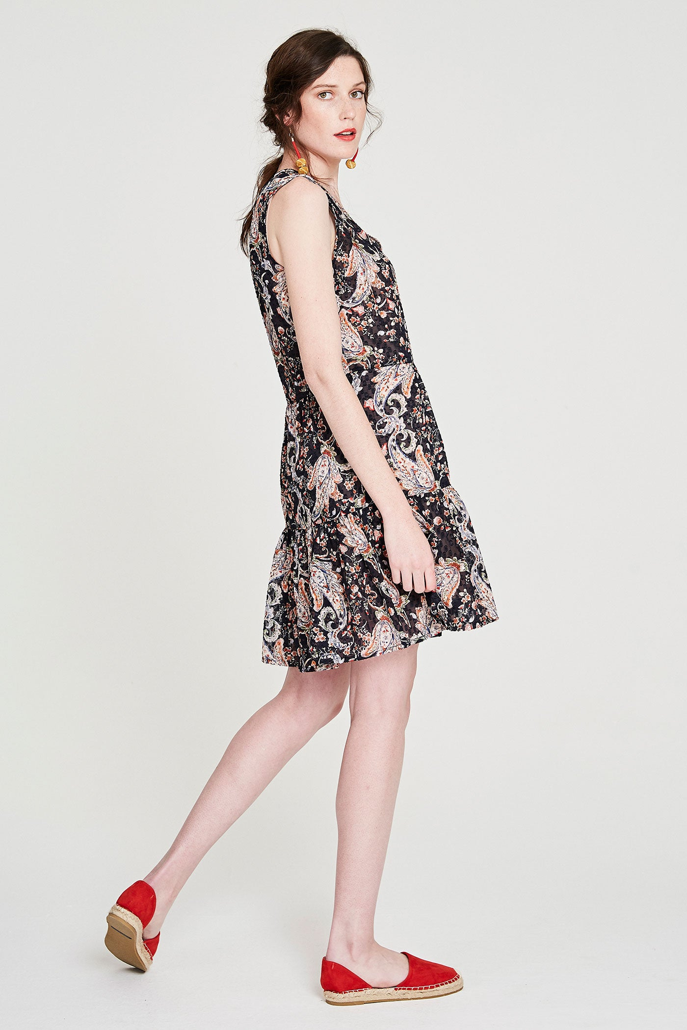 Summer Peasant Dress - Navy Paisley