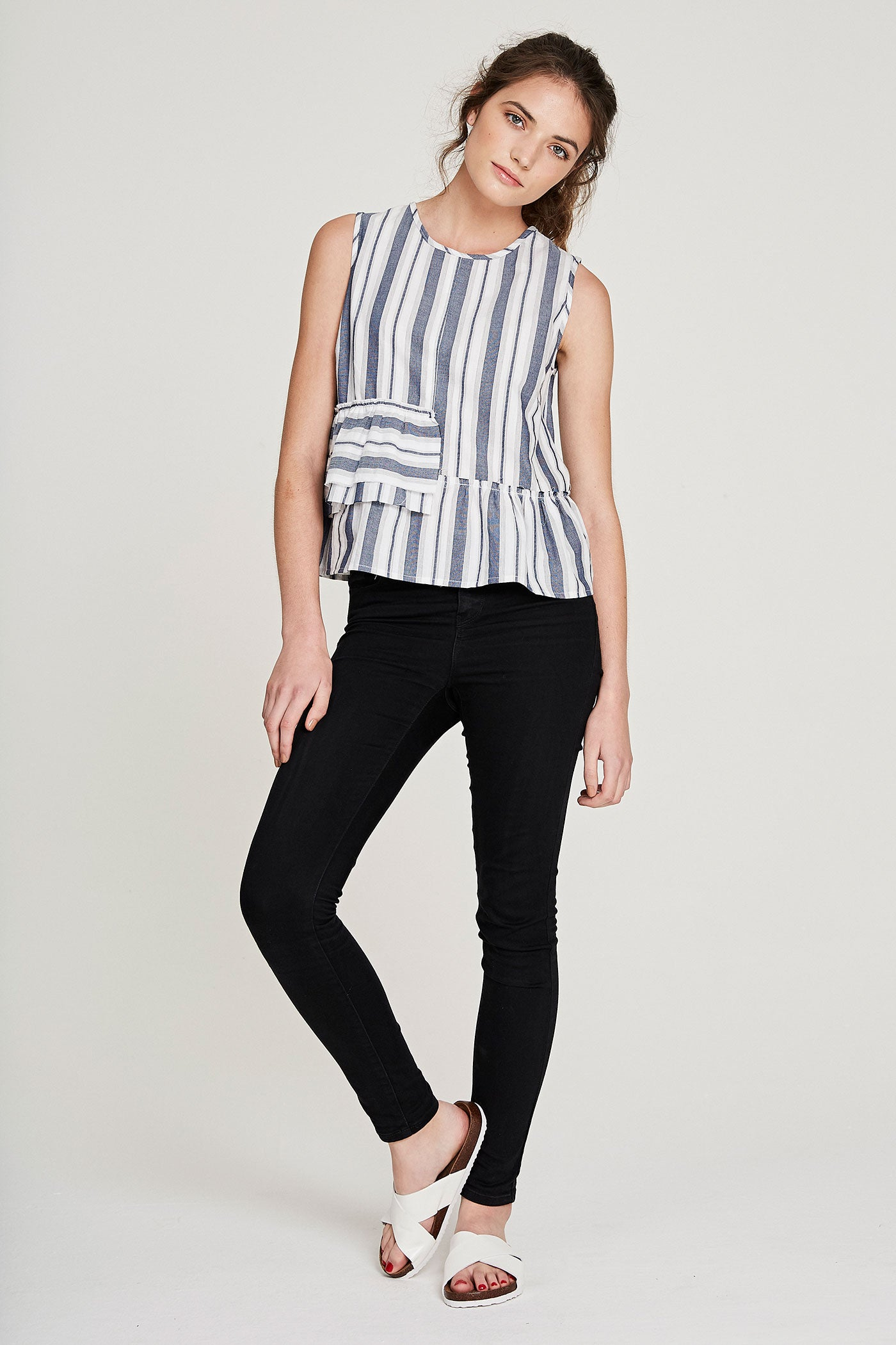 Frill Tank - Blue & Grey Stripe