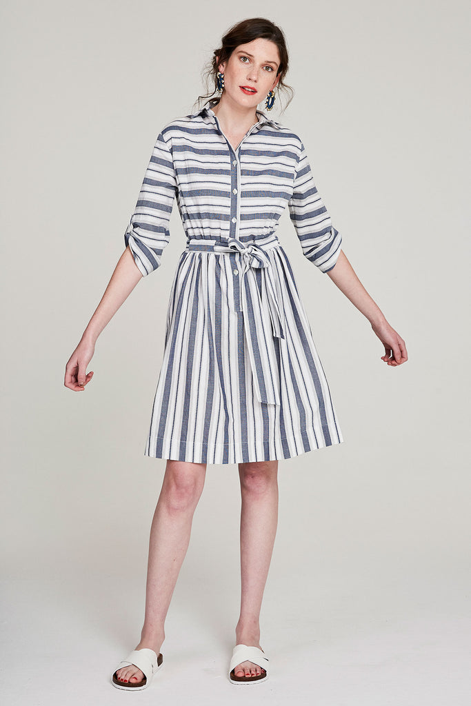 Shirt-tie Dress - Blues & Grey Stripe