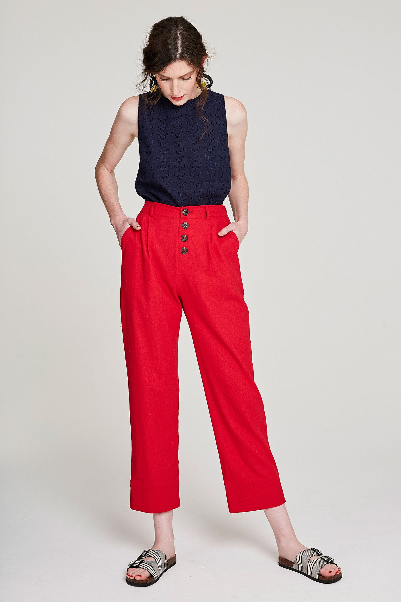 Linen Pants - Red