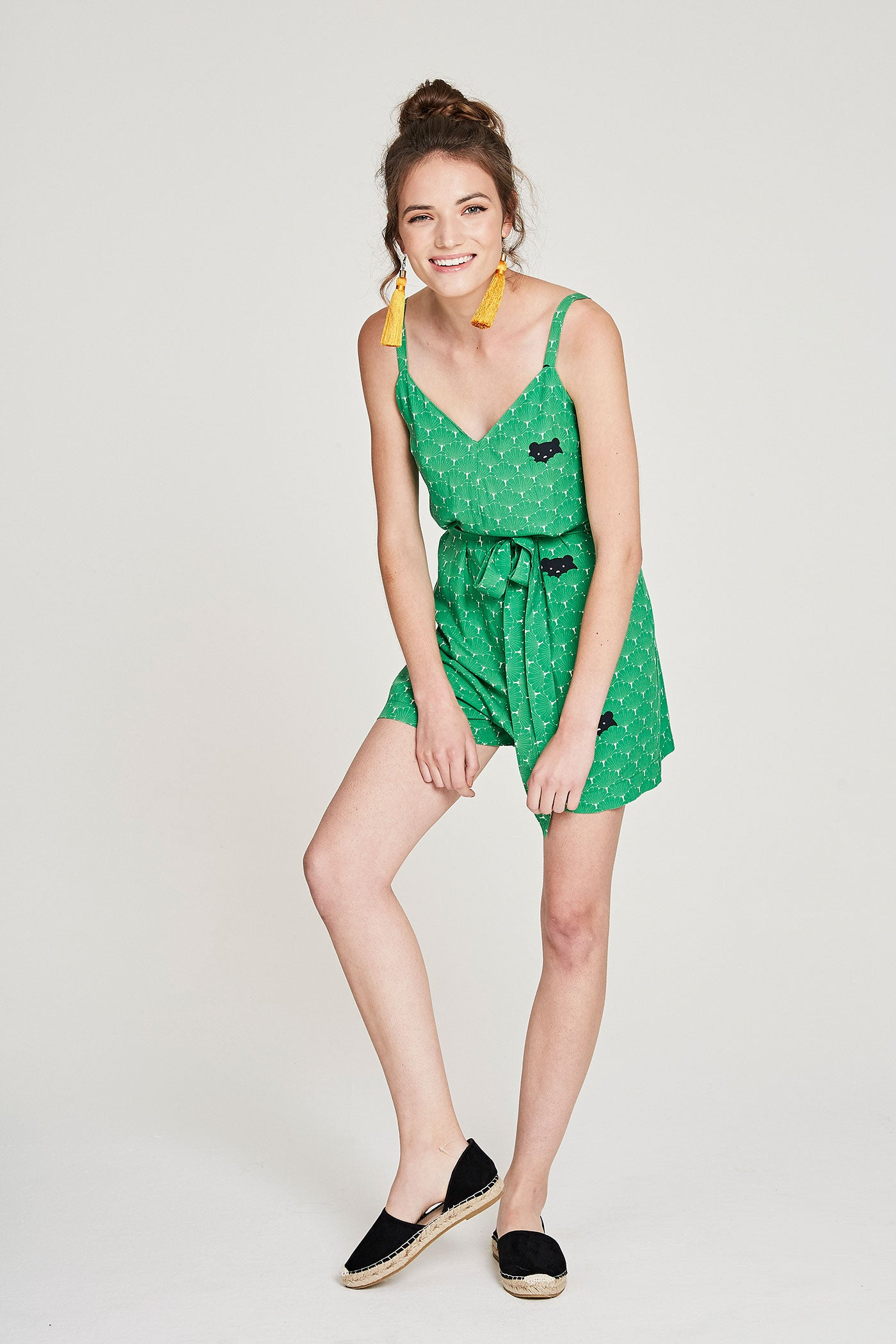 Strappy Playsuit - Green Bears