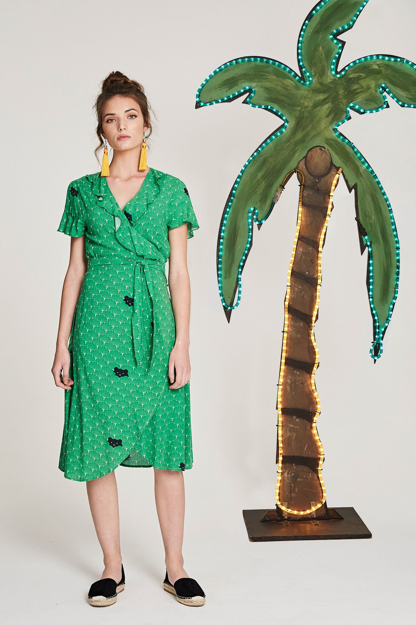 Sarie Wrap Dress - Green Bears