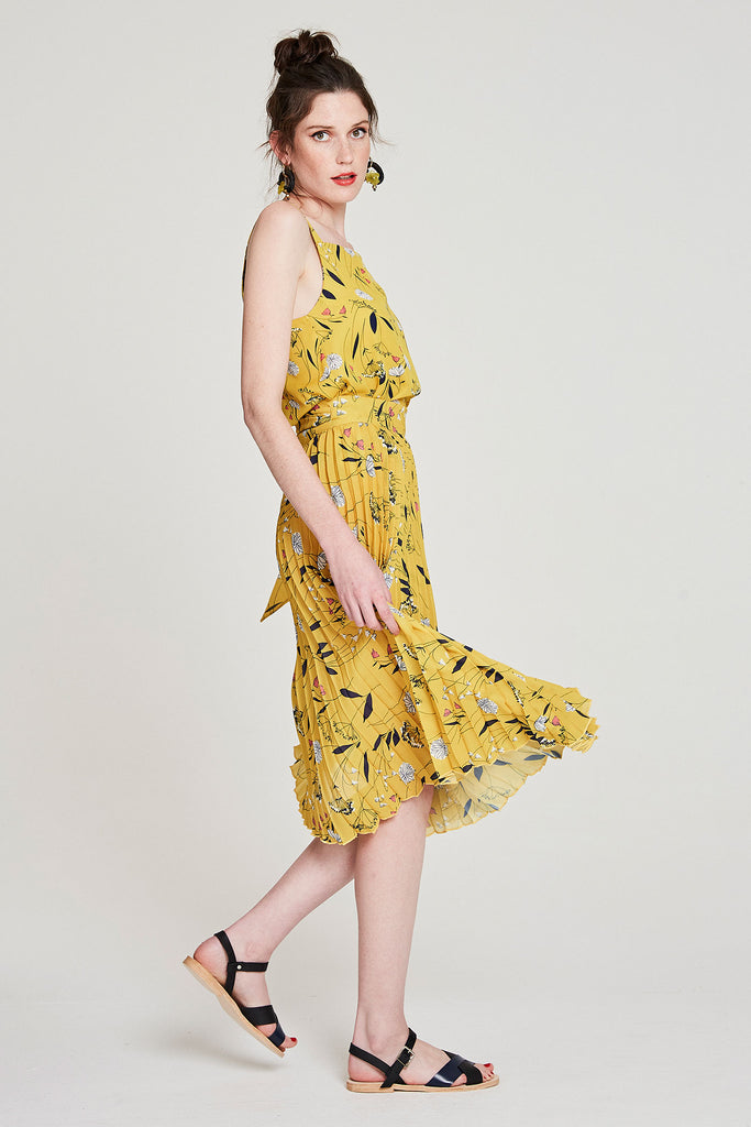 Pleated Wrap Skirt - Yellow Dandylion
