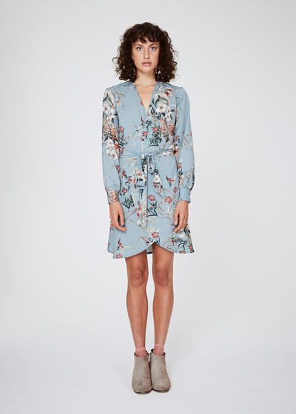 Fran Wrap Dress - Duck Egg Floral
