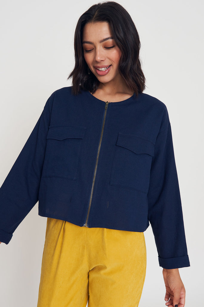 Wearwithanything Jacket - Navy Linen