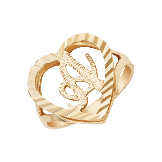 10k Solid Gold Heart Custom Initial Ring