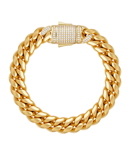 10mm Cuban Link Bracelet with cz clasp