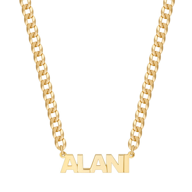 Mini Single Plated Custom Name Necklace w/ Cuban Chain
