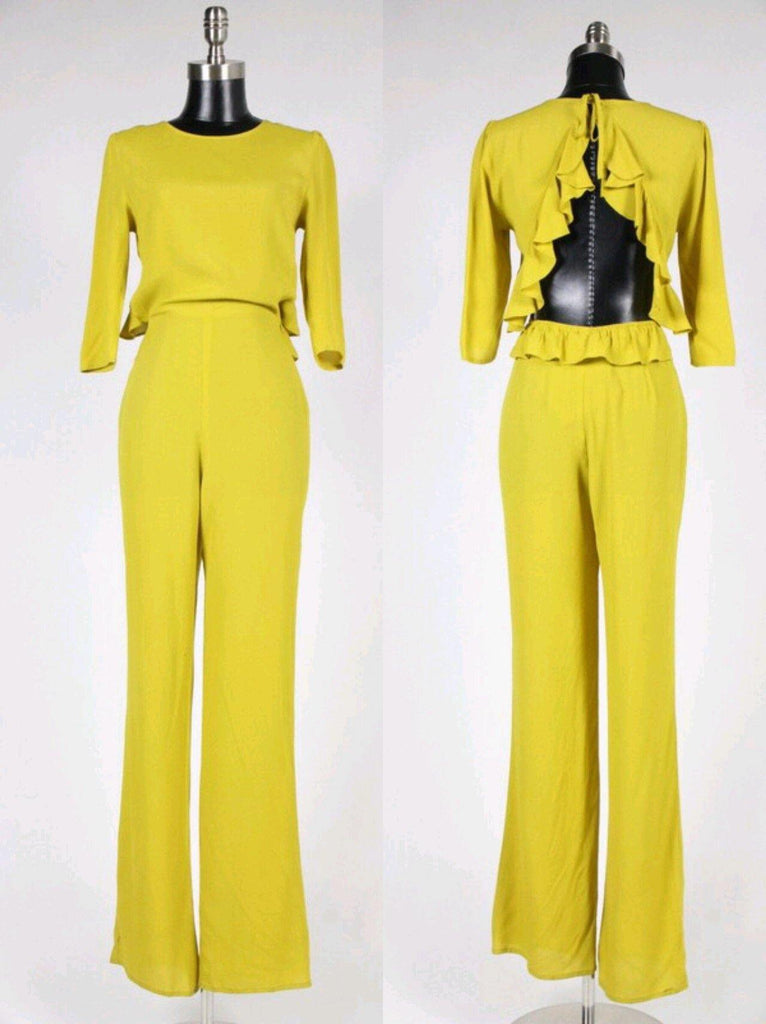 Mustard backless Jumpsuit