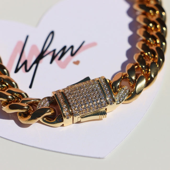 Cuban Link Chain with cz Diamond Clasp