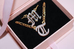 Double Plated Old English Custom Initial Necklace - Her Fashion Muse