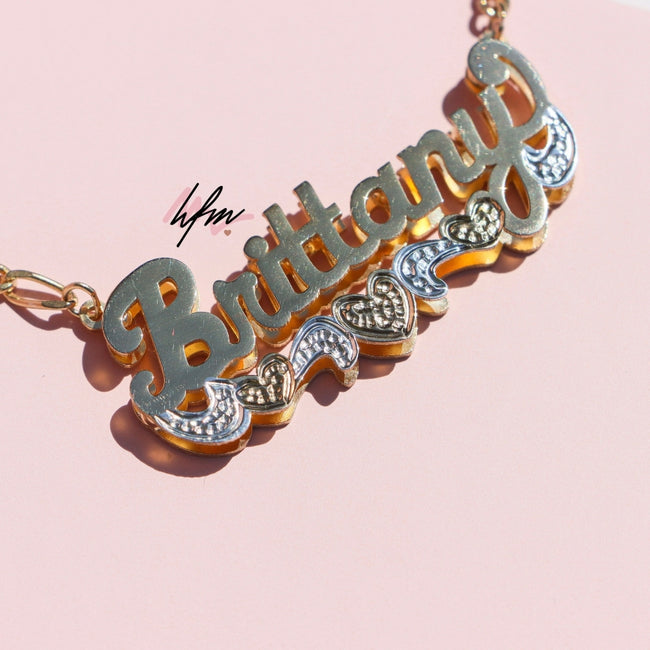Double Plated Triple Heart Custom Name Necklace