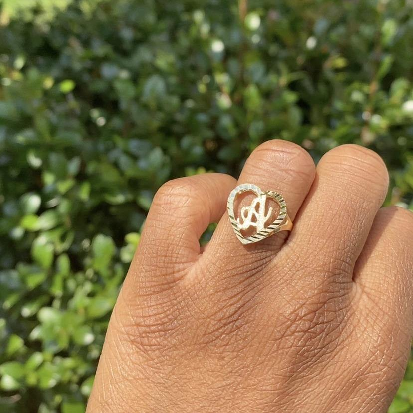 10k Solid Gold Amor Initial Ring