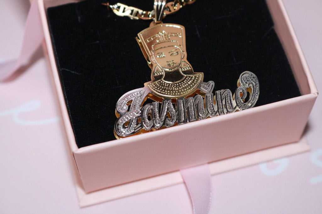 Double Plated Nefertiti Name Necklace