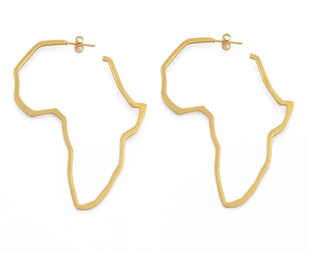 Oversized Africa outline earrings