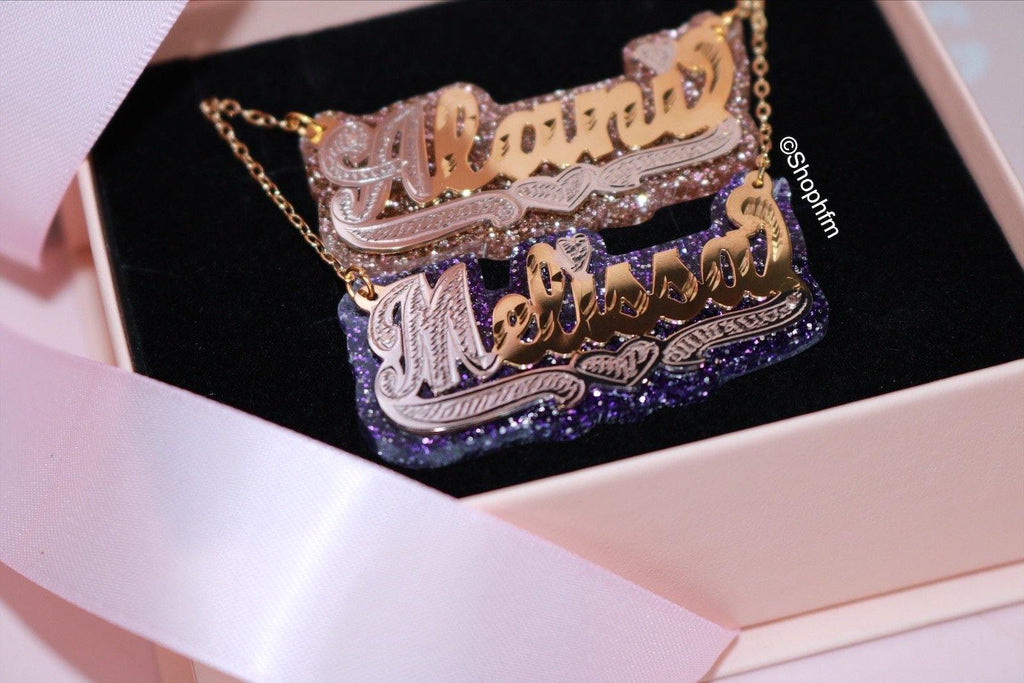 GLITZY DOUBLE PLATED COLOR NAME NECKLACE