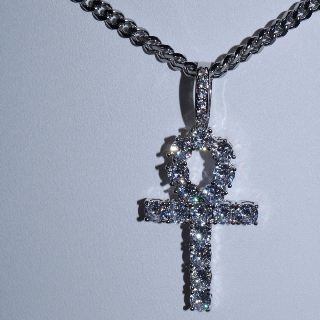 Iced Ankh Necklace -Medium (silver)