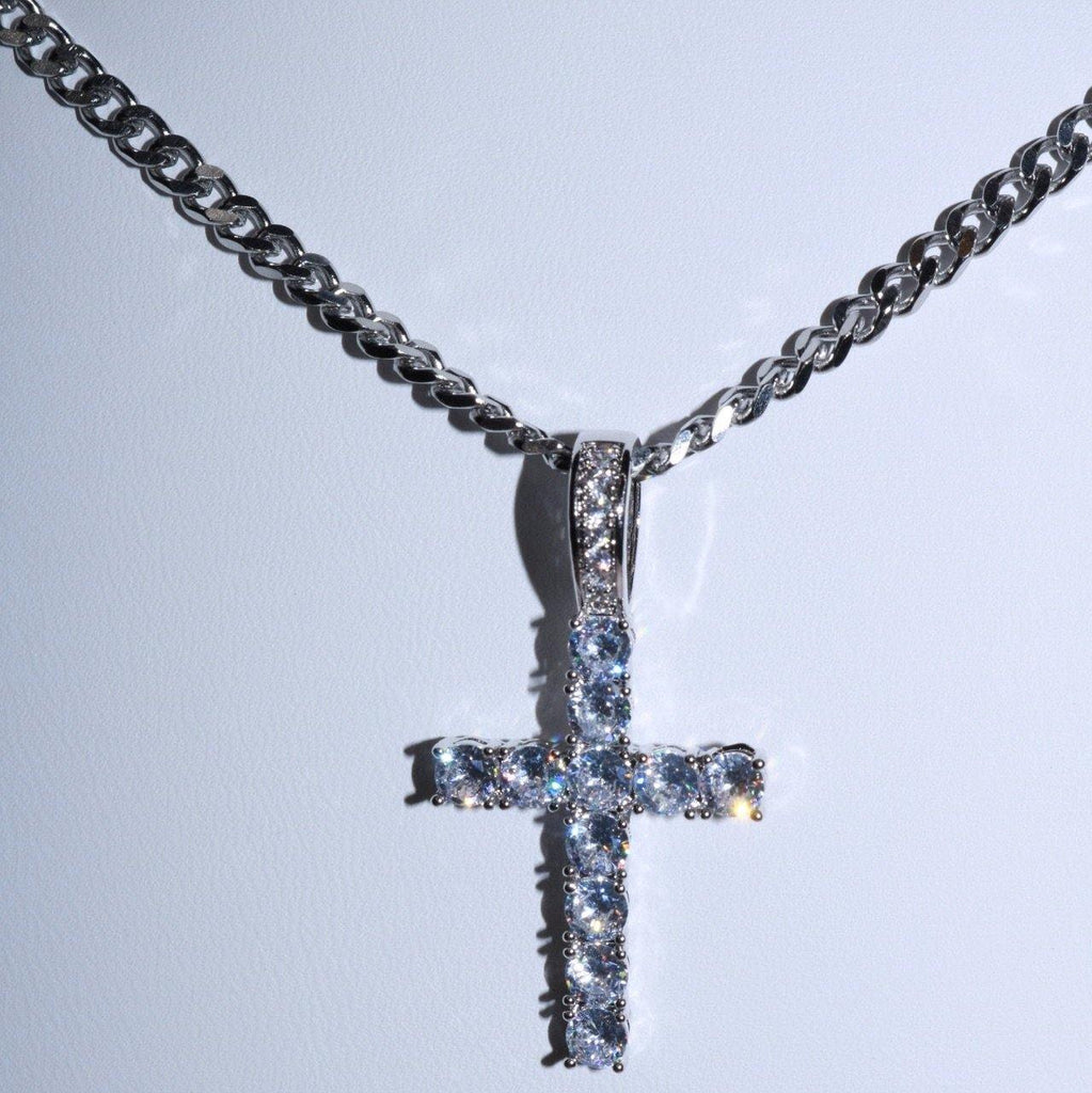 Iced Cross Necklace (Silver)