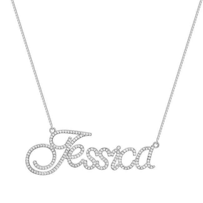 Sterling Silver CZ Diamond (Single Plated) Custom Necklace - Her Fashion Muse