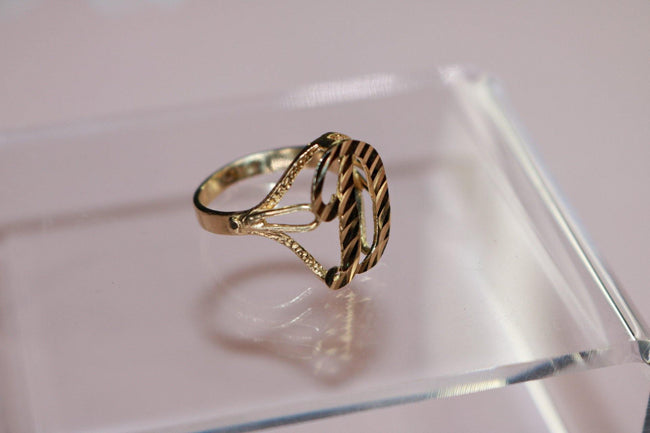 10k Solid Gold Diamond Cut Custom Initial Ring - Her Fashion Muse