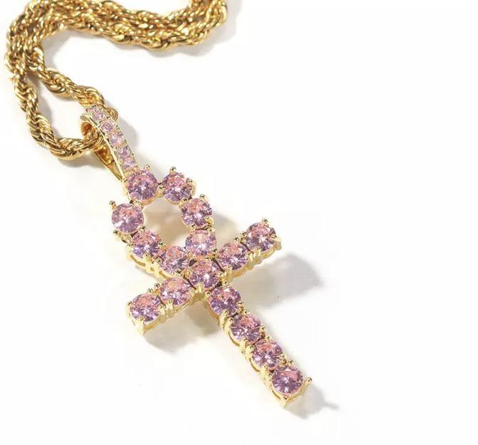 Pink Ankh Necklace (Medium)