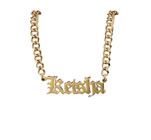 Old English Name Necklace with Cuban chain