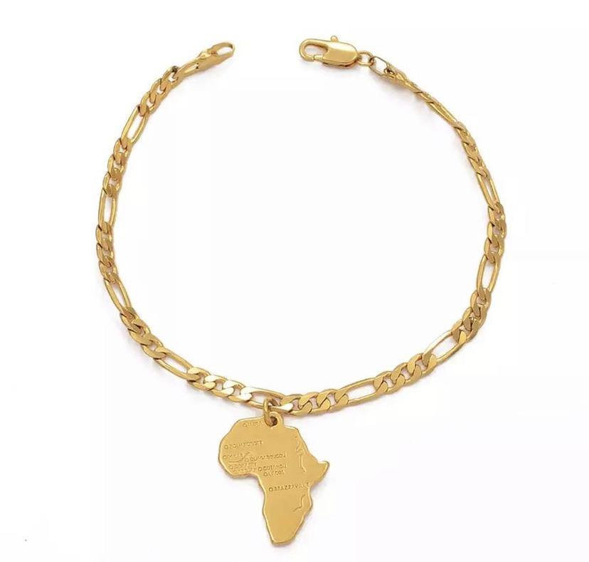 Gold Africa anklet with figaro chain