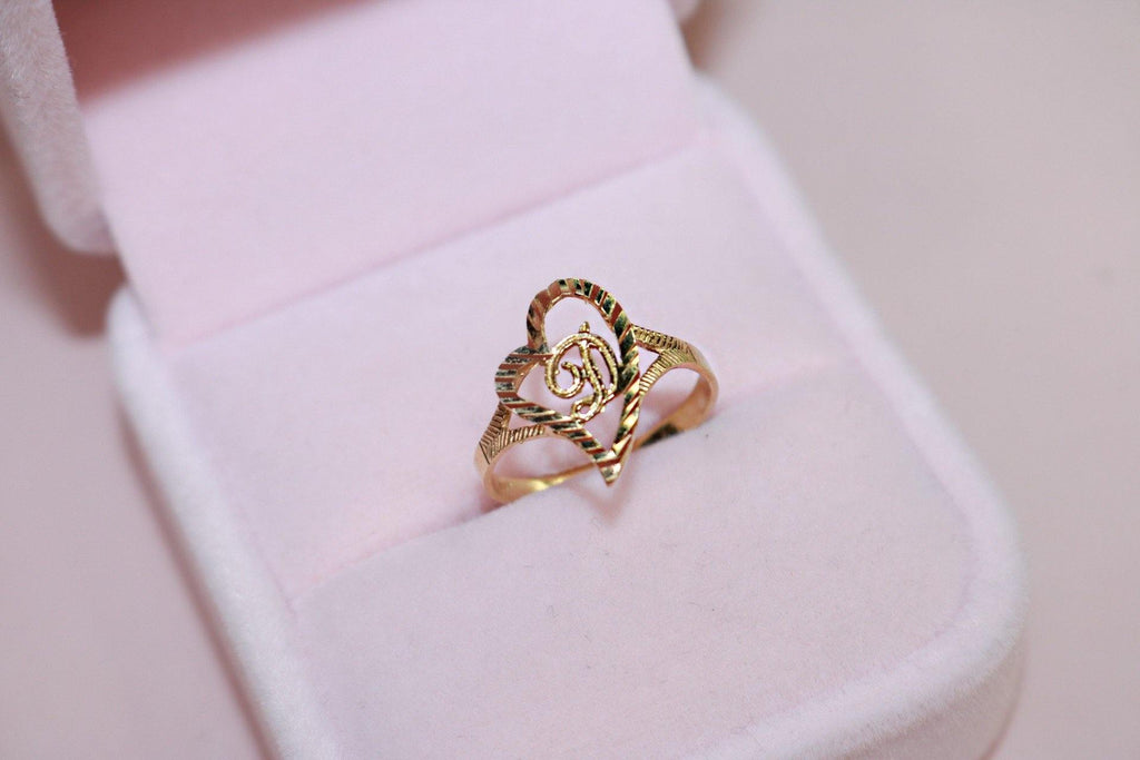 10k solid gold heart shaped initial ring