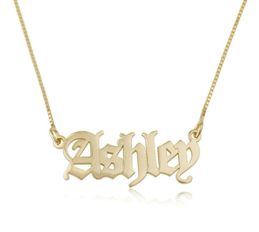 Gold Old English Nameplate Custom name necklace