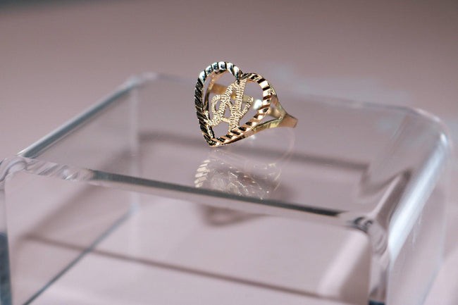 10k Solid Gold Amor Custom Initial Ring - Her Fashion Muse