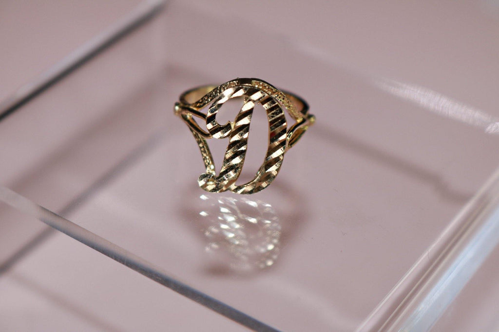 10k solid gold initial diamond cut ring
