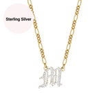 Double Plated Old English Custom Initial Necklace Personalized Nameplate