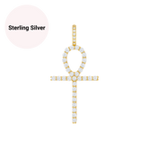 Sterling Silver Ankh CZ Diamond Pendant Necklace (large)