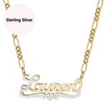 Double Plated 2-tone Heart Custom Name Necklace