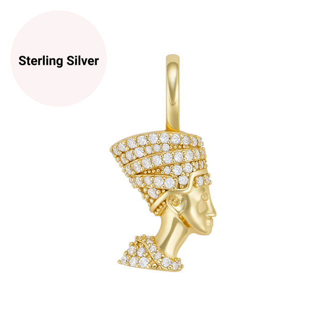 Sterling Silver Mini Nefertiti Pendant Necklace - Her Fashion Muse