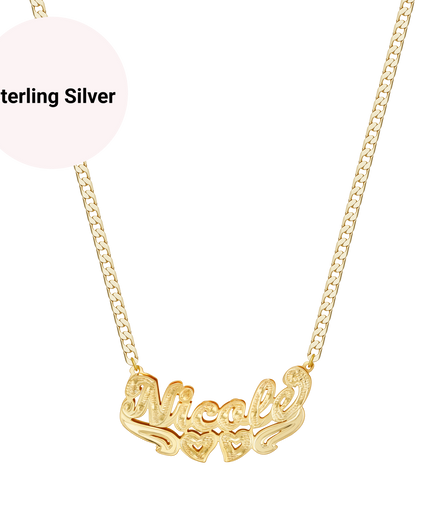 3D Golden Double Hearts Double Plated Custom Name Necklace