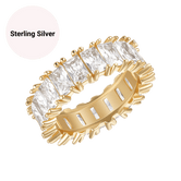 Sterling Silver Emerald Cut Baguette Eternity Ring