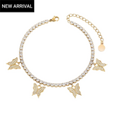 Butterfly CZ Diamond Tennis Anklet