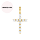Sterling Silver Cross CZ Diamond Pendant Necklace