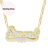 3D Mirrored Double Plated Custom Name Necklace