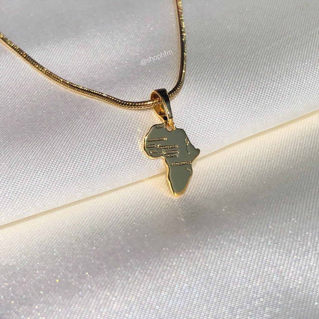 small mini gold Africa necklace