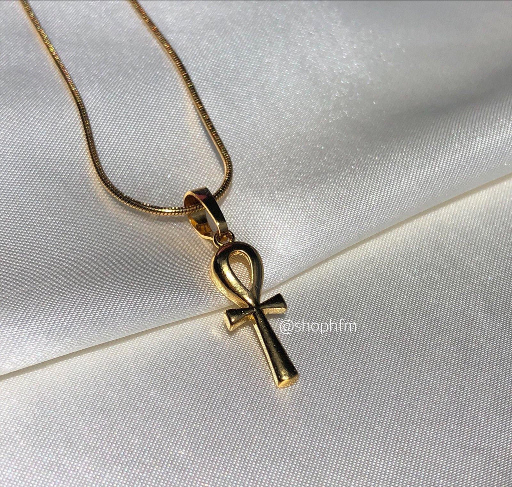 Small mini gold Ankh necklace