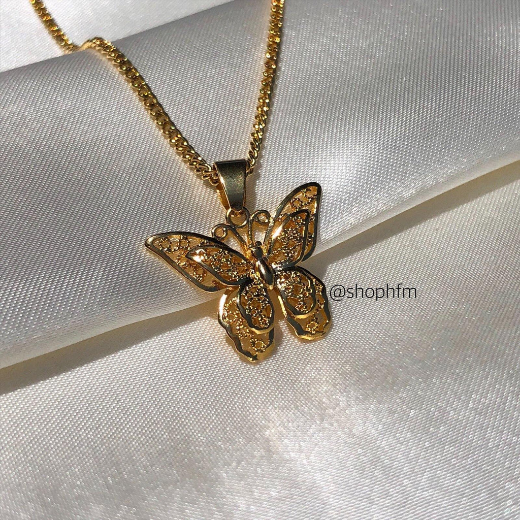 Small Gold butterfly necklace