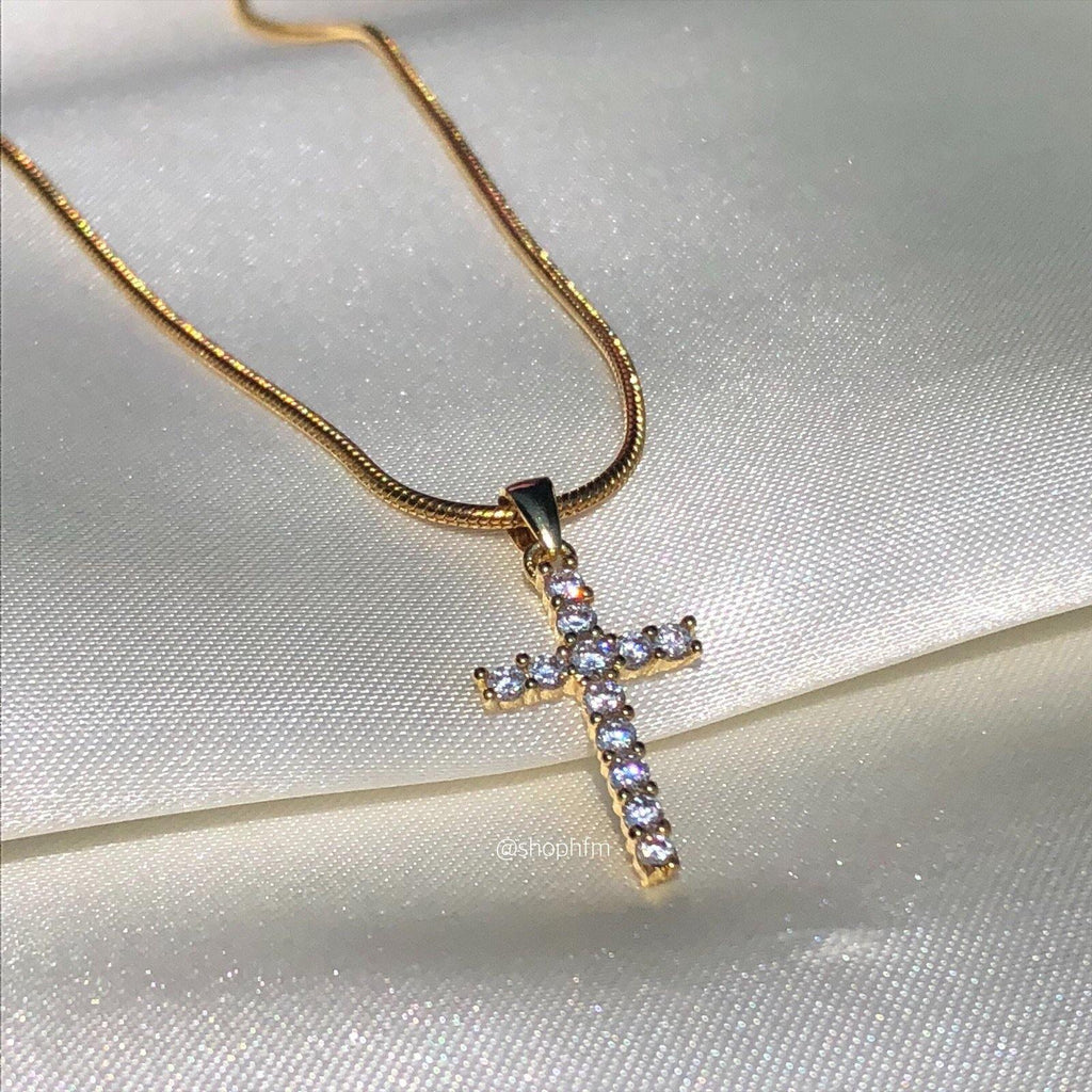 small mini gold icy cross necklace