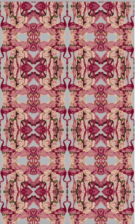 FLAMINGO PEONIES VELVET FABRIC-GREY
