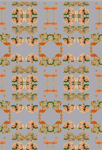 FLAMINGO PEONIES  SMOOTH WALLPAPER-GREY