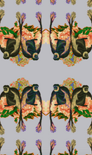 Load image into Gallery viewer, MAKAKU PEONIES VELVET FABRIC-GREY